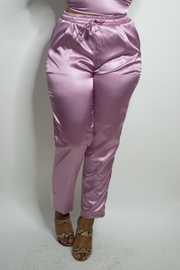 Iris Satin Cigarette Pant | Rose