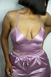 Iris Satin Strappy Back Crop Top | Rose