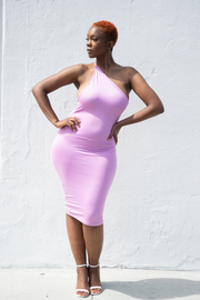 Ivy 1 Shoulder Strappy Back Midi | Orchid