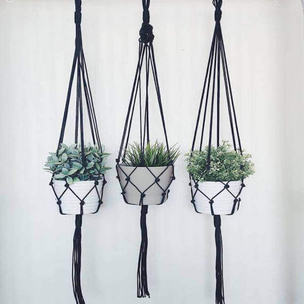 Handcrafted Trio Macrame Plant Hangers - Home & Oasis