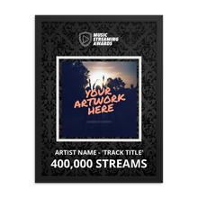 Load image into Gallery viewer, 400K Music Streams Framed Award