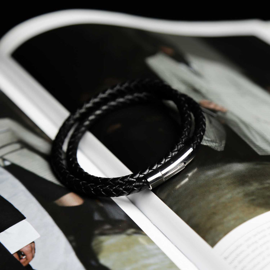 Leather Plaited Double Bracelet