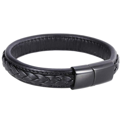 Leather Braided Bangle Bracelet