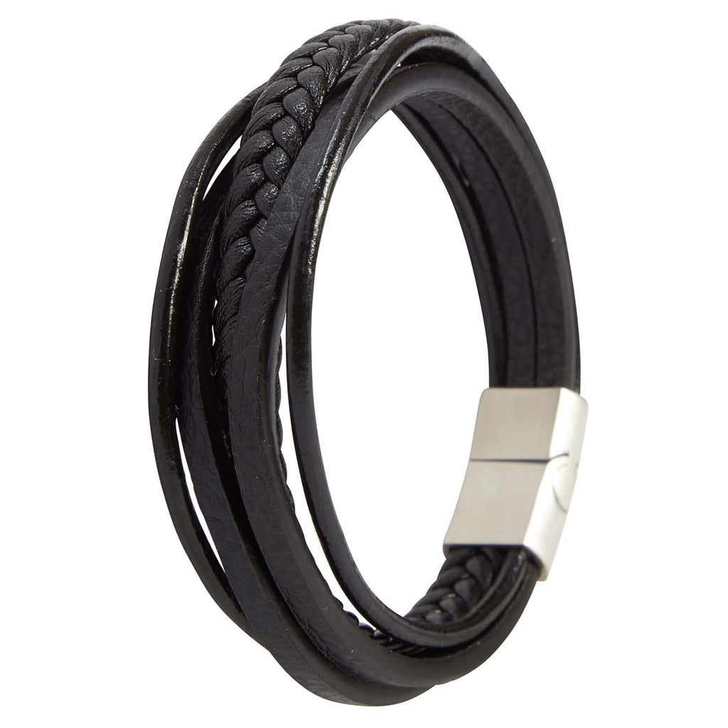 Black 5 Strap Leather Braided Bangle Bracelet