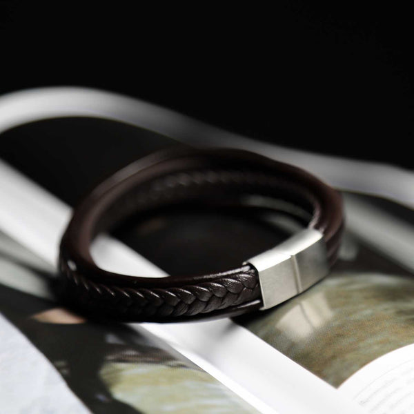 Brown 5 Strap Leather Braided Bangle Bracelet