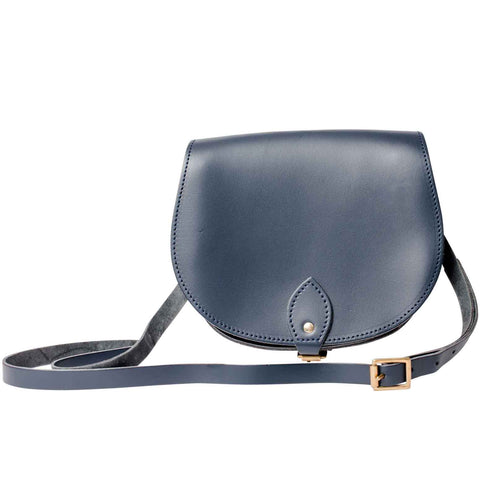 Navy Leather Saddle Bag With Pocket