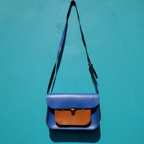 Limited Edition - Blue & Tan Mini Pocket Satchel