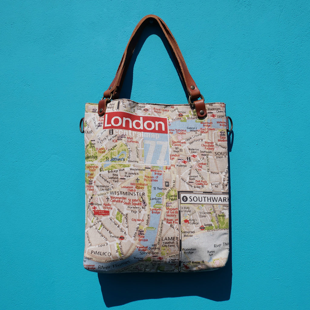 London Map Canvas & Leather Tote SAMPLE