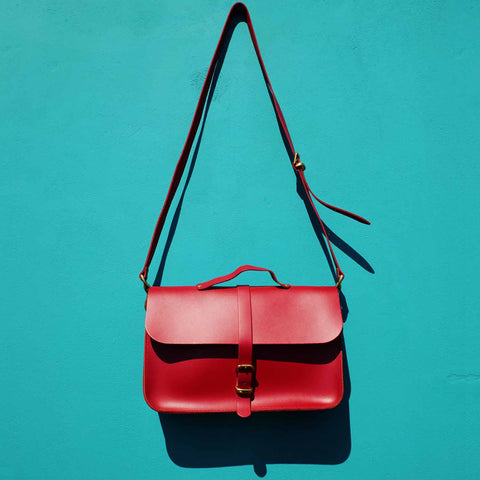 Red Leather Briefcase Satchel SAMPLE