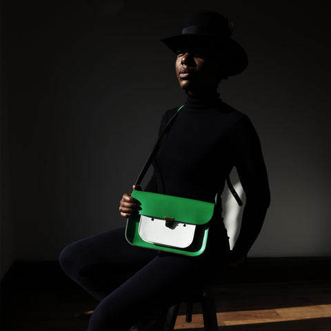 Limited Edition - Green & White Mini Pocket Satchel