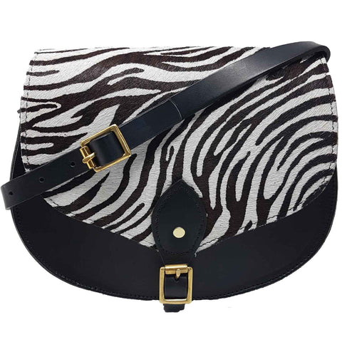 Alexandra Zebra Print Full Grain Leather Saddle Bag