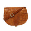 Alligator Print Leather Saddle Bag with Pocket