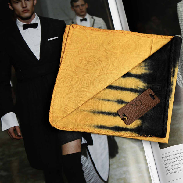 Regent Black & Yellow African Print Pocket Square