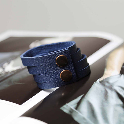 Mens Wide Blue Leather Multiple Slit Cuff Bracelet