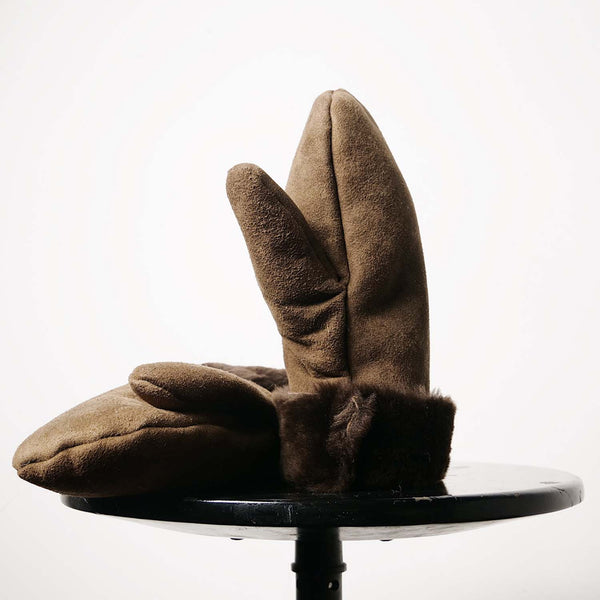 Aviator Brown Lambswool & Leather Mittens SAMPLE