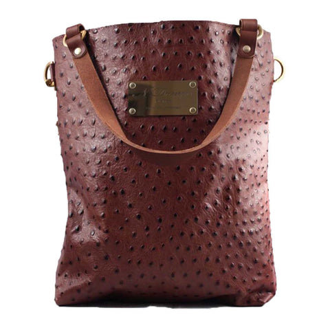 Abbey Brown Ostrich Print Leather Tote SAMPLE