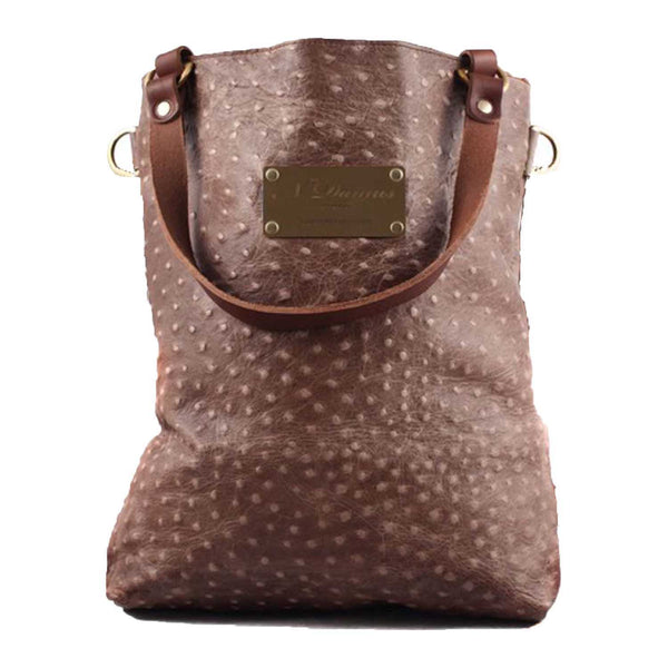 Abbey Cream Ostrich Print Leather Tote SAMPLE
