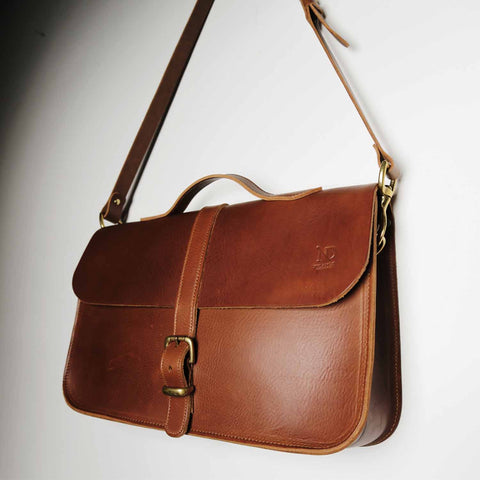 Fenchurch Tan Leather Briefcase Satchel sample