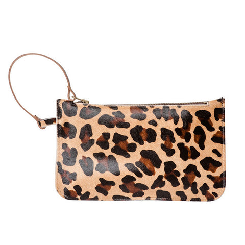 Eloise Leopard hand clutch bag 100% leather