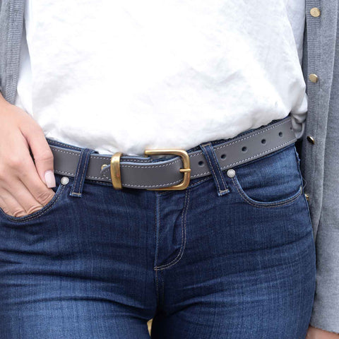 Lady Orion Grey Belt with Silver Buckle