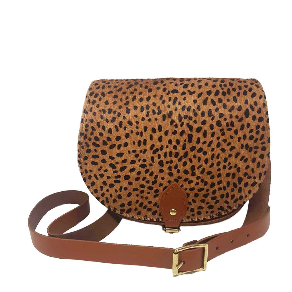 Cheetah Print Leather Saddle Bag
