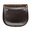 Leopard Print Leather Saddle Bag with Pocket