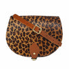 Leopard Print Tan Leather Saddle Bag with Pocket