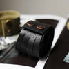 Mens Wide Black Leather Multiple Slit Cuff Bracelet