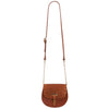 Mini Victoria Alligator Print Tan Full Grain Leather Crossbody Saddle Bag With Gold Chain