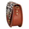 Mini Victoria Amaka Black, Orange & White African Print Full Grain Tan Leather Crossbody Saddle Bag