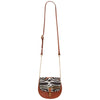 Mini Victoria Amaka Black, Orange & White African Print Full Grain Tan Leather Crossbody Saddle Bag With Gold Chain