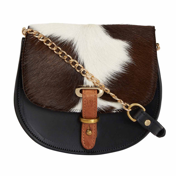 Mini Victoria Cow Fur Full Grain Black Leather Crossbody Saddle Bag