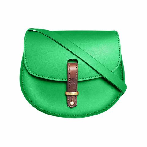Mini Victoria Emerald Green Leather Saddle Bag
