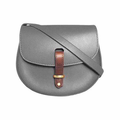 Mini Victoria Grey Leather Saddle Bag