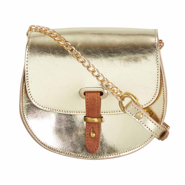 Mini Victoria Gold Full Grain Leather Crossbody Saddle Bag With Gold Chain