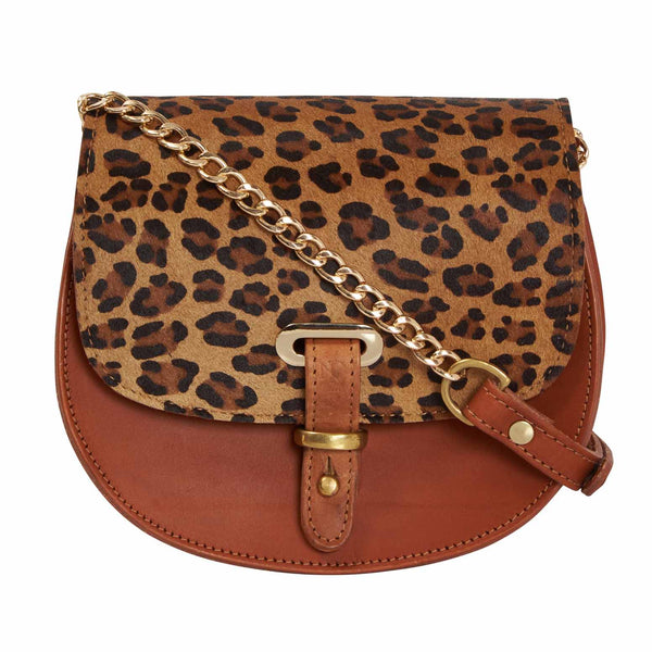 Mini Victoria Leopard Print Tan Full Grain Leather Crossbody Saddle Bag