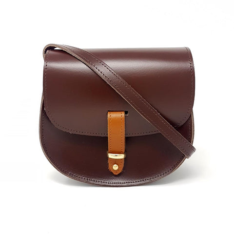 Mini Victoria Oak Brown Leather Saddle Bag