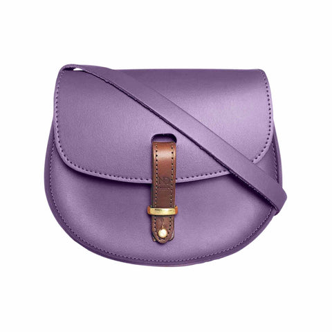 Mini Victoria Purple Leather Saddle Bag