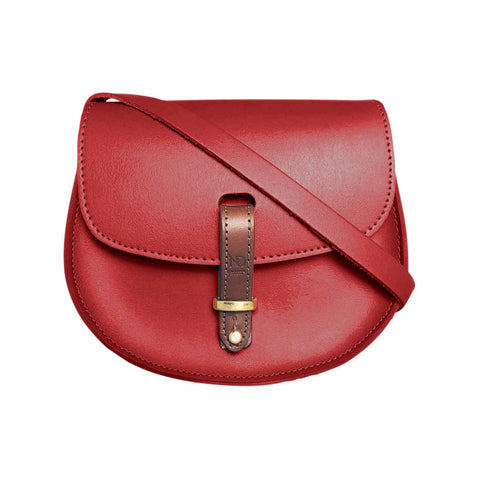 Mini Victoria Red Leather Saddle Bag