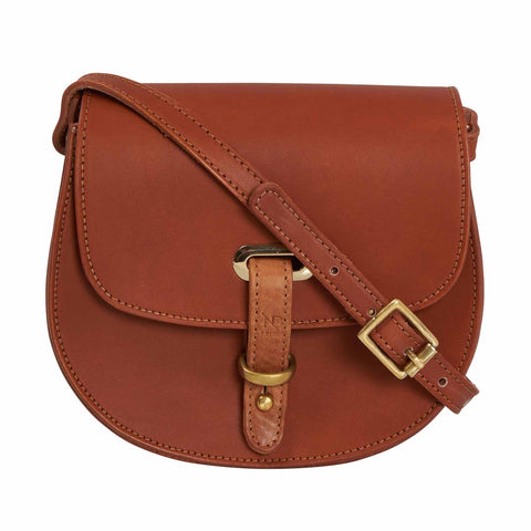 Mini Victoria Tan Full Grain Leather Crossbody Saddle Bag