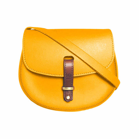 Mini Victoria Yellow Leather Saddle Bag