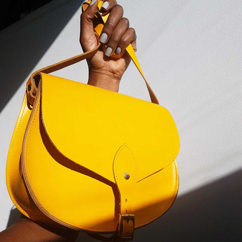Alexandra Yellow Leather Saddle Bag