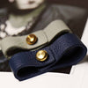 Mens Blue Leather Bracelet With Large Brass Button