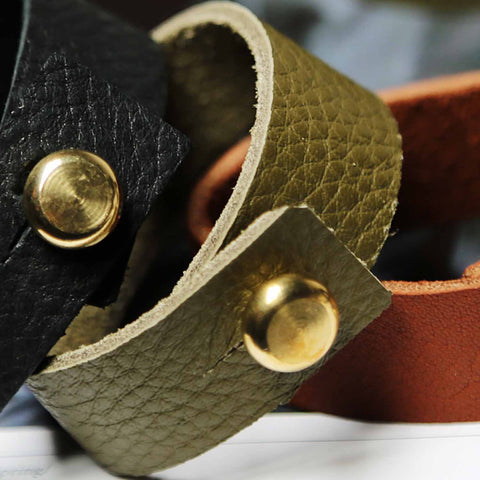 Mens Olive Green Leather Bracelet With Large Brass Button