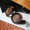 Regent Tan and Purple Wool & Rhodium Silver Cufflinks