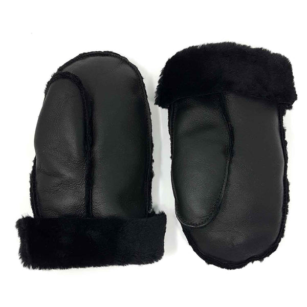 Aviator Black Shearling Lambswool & Leather Mittens