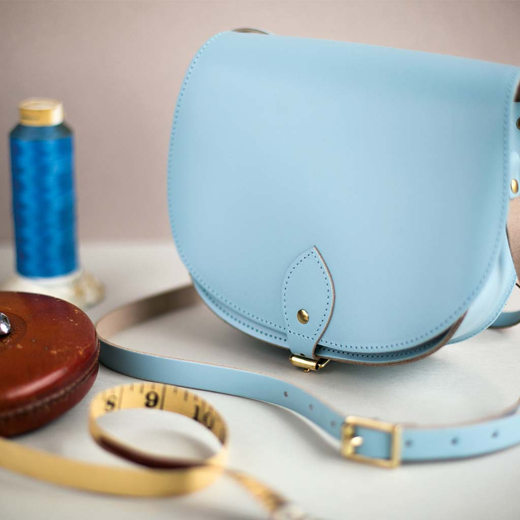 Sky Blue Saddle Bag With Pocket