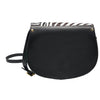 Zebra Print Full Grain Leather Saddle Bag