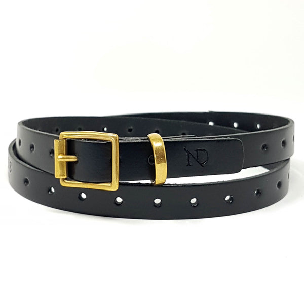 Carnaby Black Leather Skinny Belt