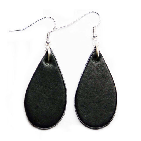 Black Leather Tear Drop Earrings